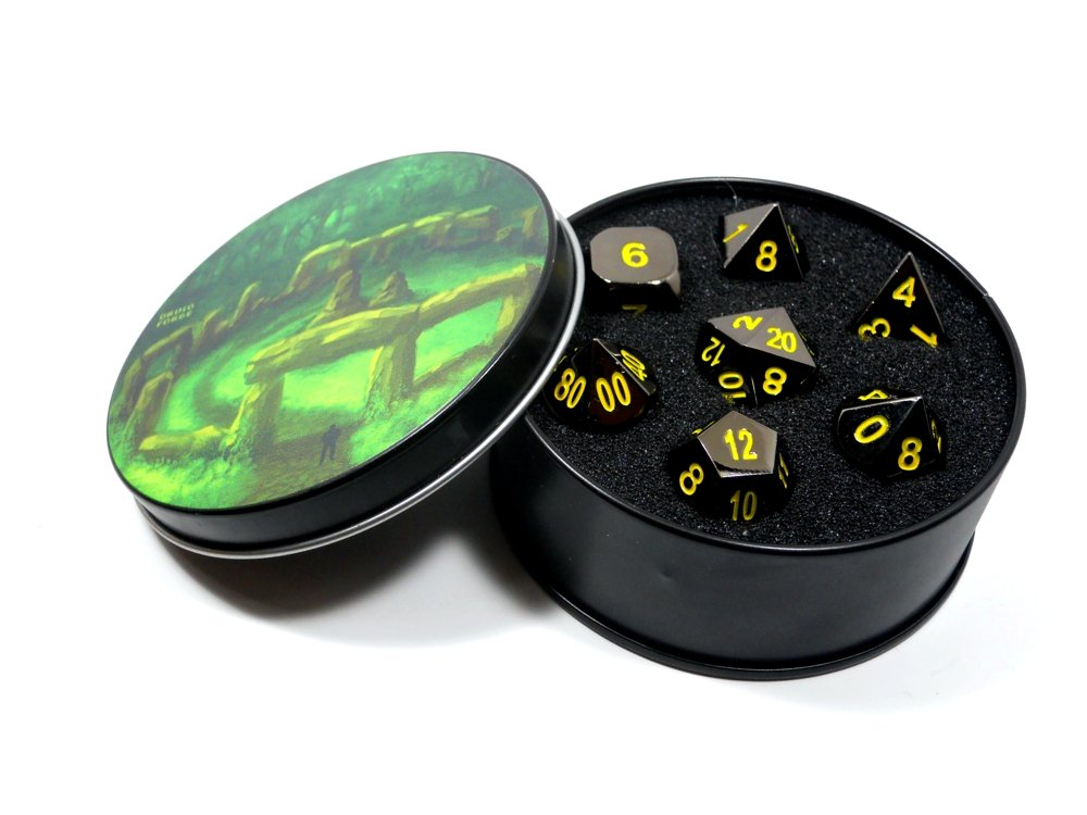 メタルダイスPolyhedralのセット7 BlazingブラックD & D RPGブラックwithイエローNumbers   B077DD7LJ4
