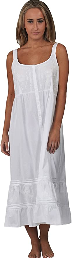 Cottagecore Clothing, Soft Aesthetic The 1 for U Ruby 100% Cotton Victorian Sleeveless Nightgown 7 Sizes $39.99 AT vintagedancer.com