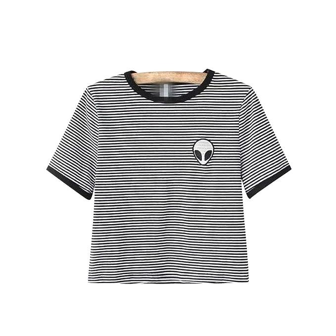 4e875ba833c26 Camisetas Cortas Manga Corta Mujer Camiseta de Rayas Camisas de Mujer  Camisetas de Tirantes Anchas Remeras