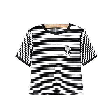 Camisetas Cortas Manga Corta Mujer Camiseta de Rayas Camisas ...