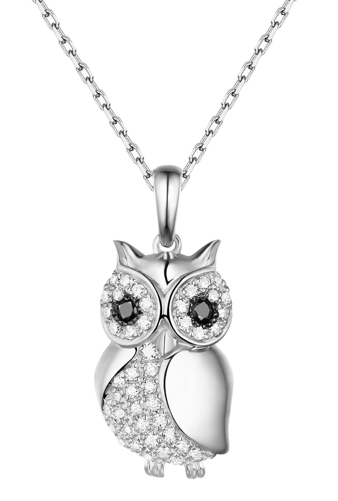 Prism Jewel G-H/SI1 0.29Ct Natural Diamond Owl Style Pendant, With Chain 14k White Gold