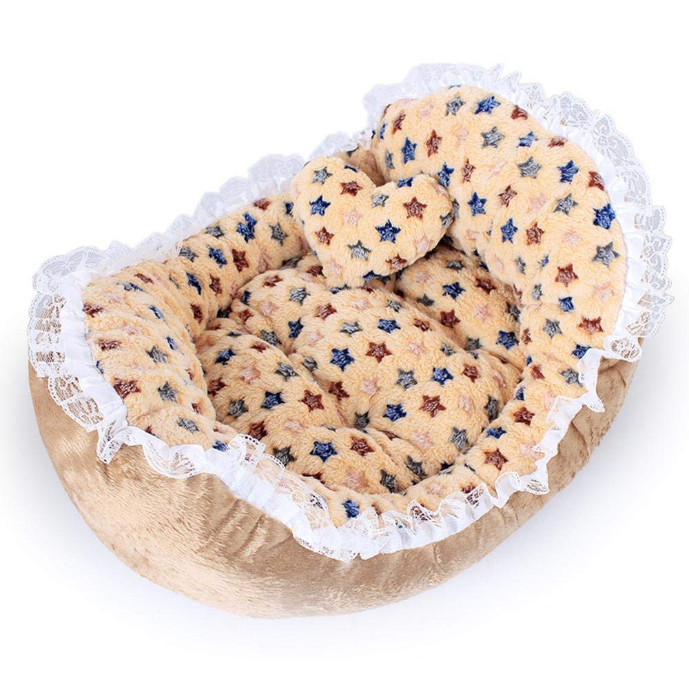 B Y-YT Pet Bed Lace wave winter warm teddy small dog pet Bed pet Kennel