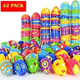 """MeiGuiSha 42PCS Plastic Colorful Printed Bright Easter Eggs-2.5"""" tall Fillable Printed Easter Eggs for Easter Hunt Party Favor"""