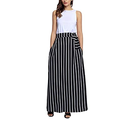 42bdeee3f2 Kaured Good Striped Maxi Skirts Womens Elastic Waist Loose Street Style  High Waist Skater Long Skirt