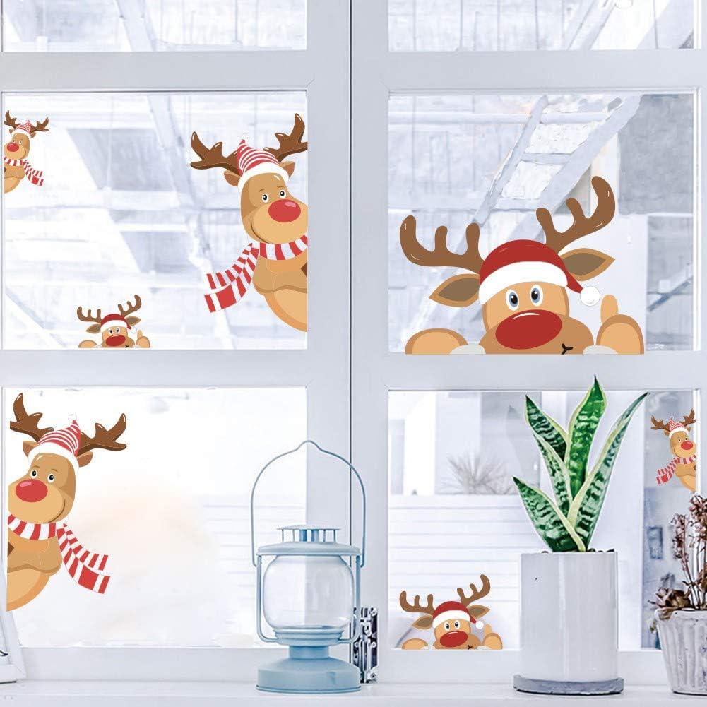 Christmas Reindeer Window Wall Decal,Happy Cartoon Reindeer Wall Mural Removable DIY Vinyl Door Sticker for Showcase,Christmas Nursery Home Decorations