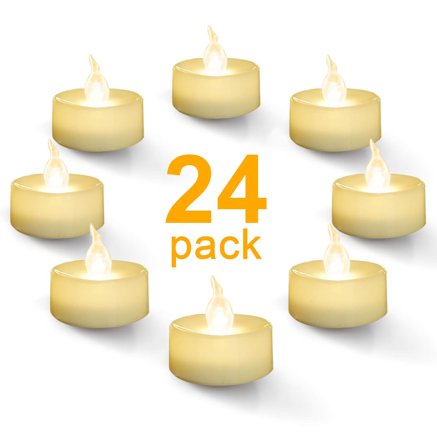 Homemory Warm White Battery LED Tea Lights, Set of 24 Flameless Flickering Tealight Candle, Electric Fake Candle for Votive, Wedding, Party, Table, Dining Room, Gift by Homemory