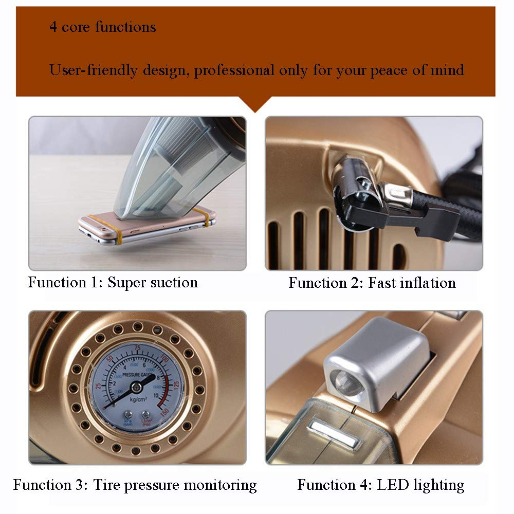 Hardworking person ZHL Car Vacuum Cleaner Portable Dc 12v LED Light Wet And Dry Car Vacuum Cleaner High Power Portable Car Air Pump 4 In 1 Vacuum Cleaner Tire Pressure Gauge With Multiple Attachments