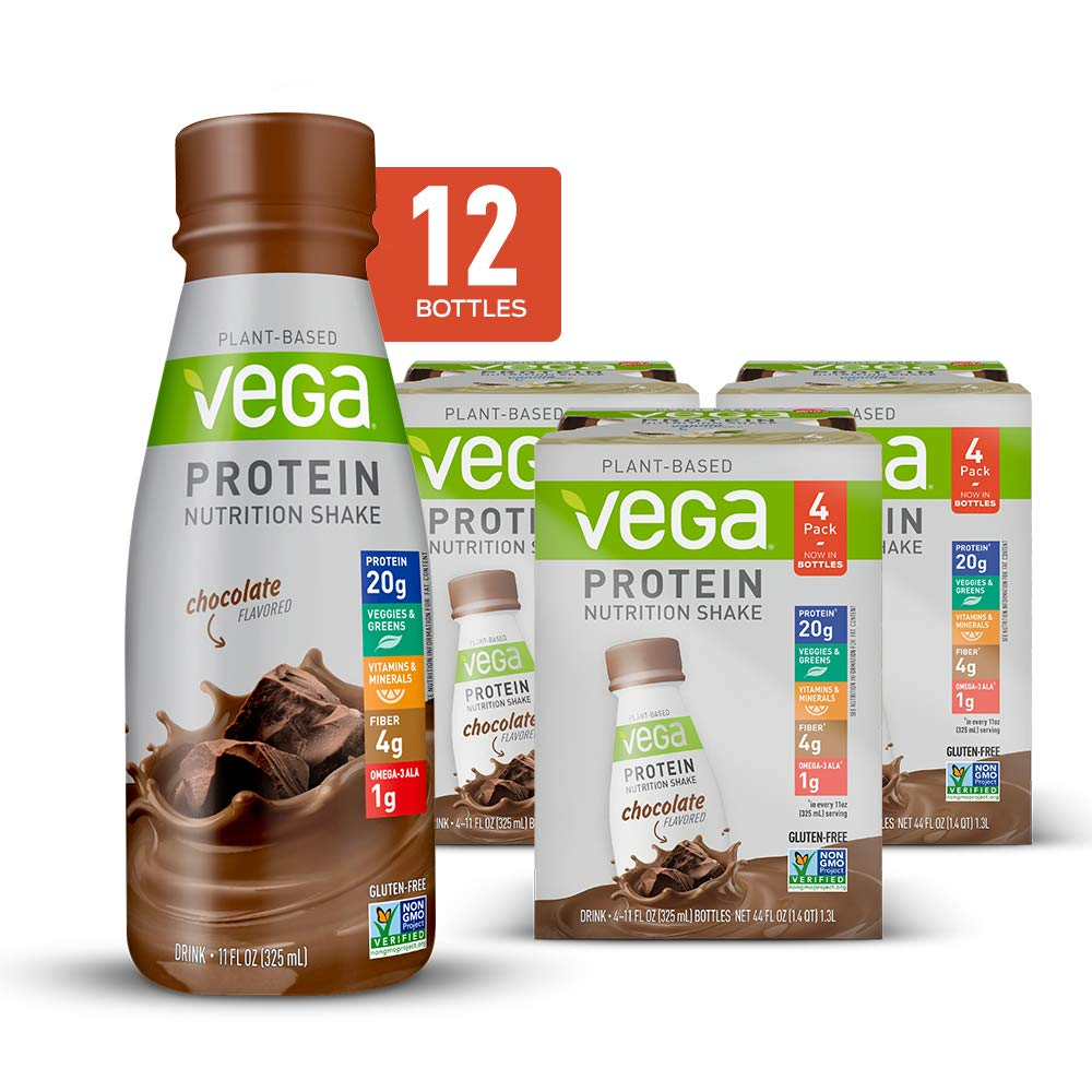 Vega Protein Nutrition Shake Chocolate 11floz (Pack Of 12) - Ready to Drink, Plant Based Vegan Protein, Gluten Free, Dairy Free, Soy Free, Vegetarian, Vitamins, Non GMO
