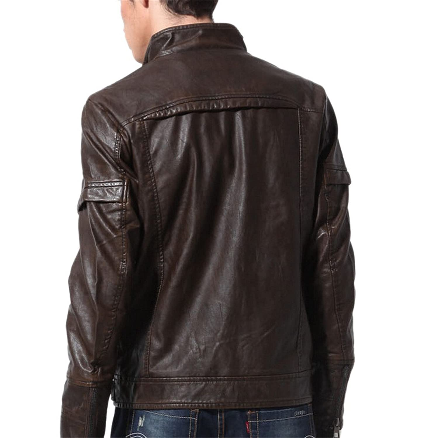 JJZXX Men's Vintage Stand Collar Pu Leather Jacket Bomber Motorcycle Jacket