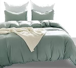 Luxton Pompoms Ball Fringe Duvet Cover Set, 3 Piece Pom Pom Quilt Cover Set 1 Comforter Cover 2 Pillowcases (Sage Green, Queen Size)