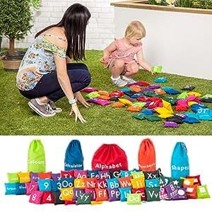 Juego de puf educativo divertido para el aprendizaje al aire libre y juegos sensoriales, disponible en 5 diseños, Shapes
