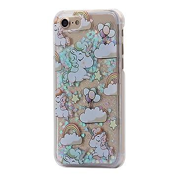 iPhone 7 Funda Carcasa , Hamyi Brillante Estrella 3d Dinámico Líquido Quicksand Carcasa Rígida de Plástico Transparente para Apple iPhone 7 (Unicornio ...