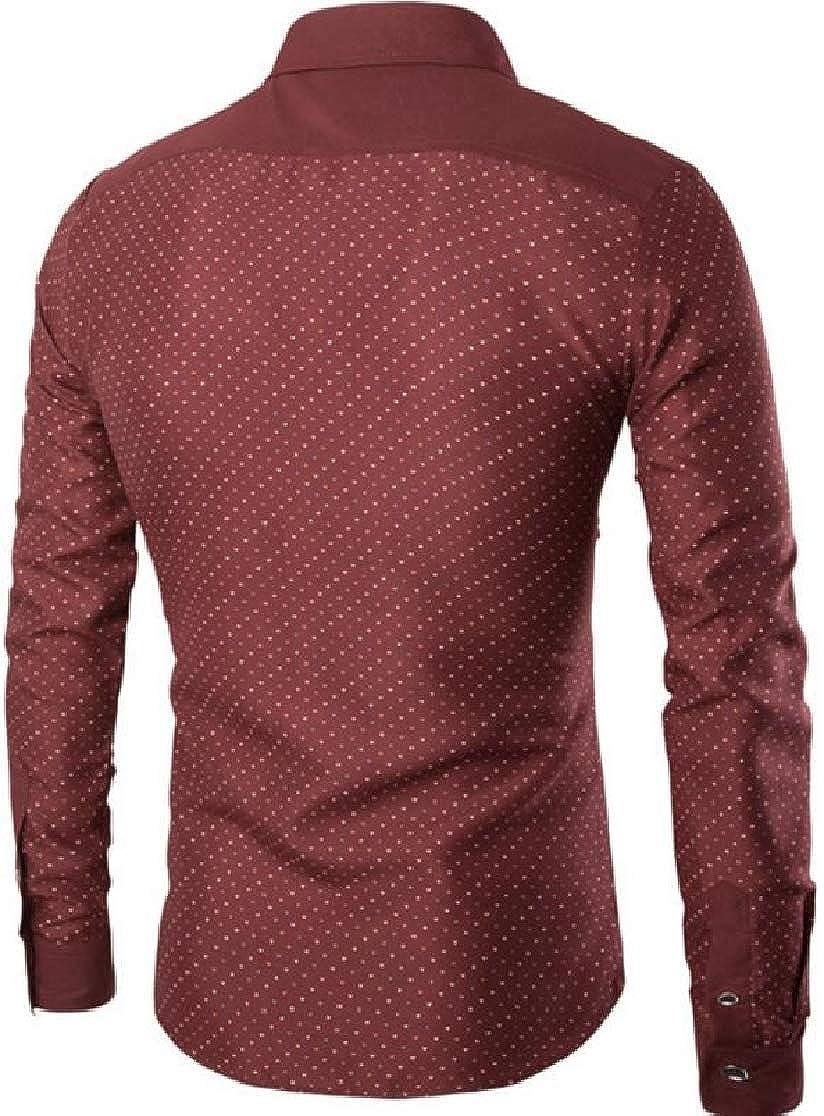 Joe Wenko Men Button Down Turn Down Collar Casual Dot Print Long Sleeve Shirts