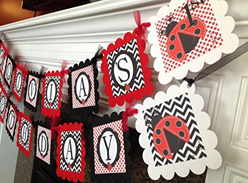 PARTY PACK SPECIAL - Lady Bug Happy Birthday Collection - Red and White Polka Dots, Black Chevron & Red and White Accents - Party Packs Available -