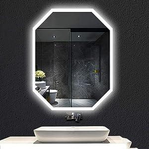 LED Lighted Bathroom Mirror, Wall Mounted Anti-Fog Makeup Vanity Mirror Over, IP65 Waterproof, Bedroom Home Furniture
