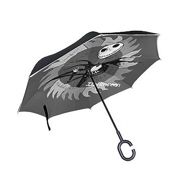 BENNIGIRY - Paraguas invertido de doble capa con estampado de esqueletos de Halloween, paraguas reversible