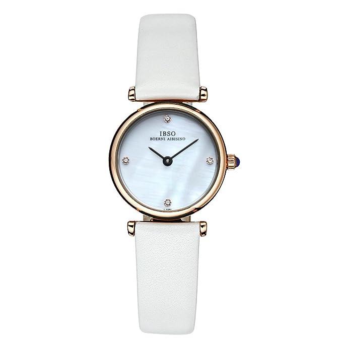 Amazon.com: Fashion Diamond Womens Watches Genuine Leather Band MOP Dial Quartz Wrist Watches B2201L (CB2201L-RG-BLK): Watches