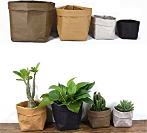 Lesirit Washable Storage Basket Kraft Paper Bag Reusable Storage Bins Plants Organizer Cover for Food, Fruit, Toys, Laundry (Grey, S)