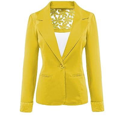 Winwinus Women Lapel Lace Splicing Long Sleeve Solid Blazer Small Blazer