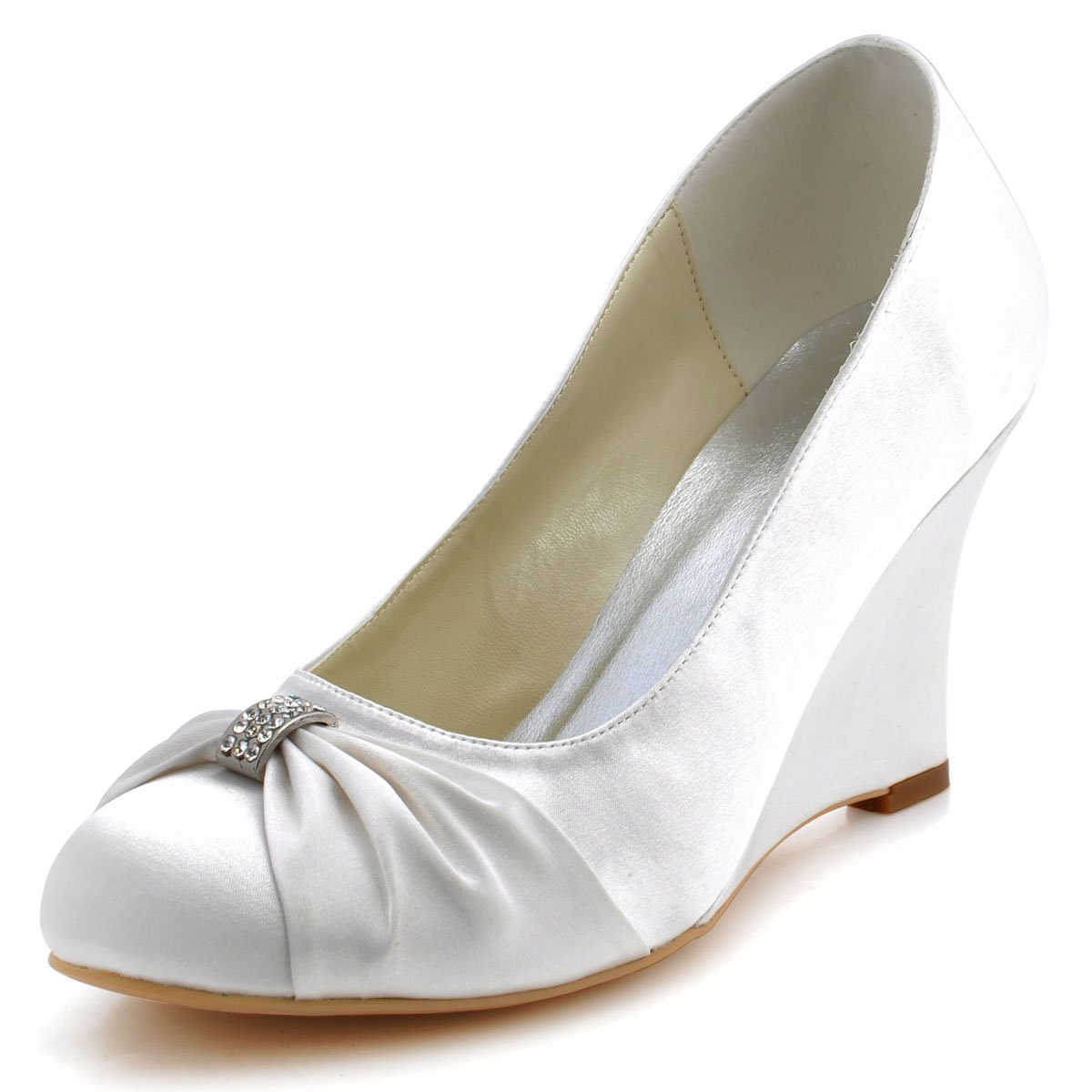 ElegantPark EP2005 Women High Heel Pumps Closed Toe Rhinestones Satin Bridal Wedding Wedges Ivory US 6