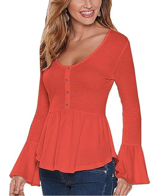 Camisa De Manga Larga Mujer Elegantes Trompeta Manga Cuello Redondo con Camisas Volantes Blusas Elegantes Moda Bastante Slim Fit Casuales Primavera Otoño ...