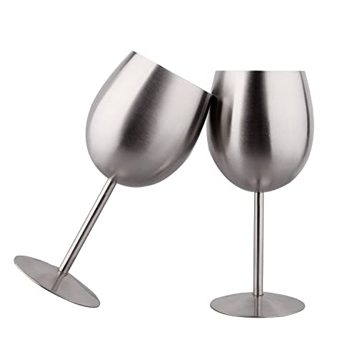 IMEEA® Red Wine Goblets Brushed Stainless Steel Champagne Cup 325ml/11oz Set of 2 (Silver)