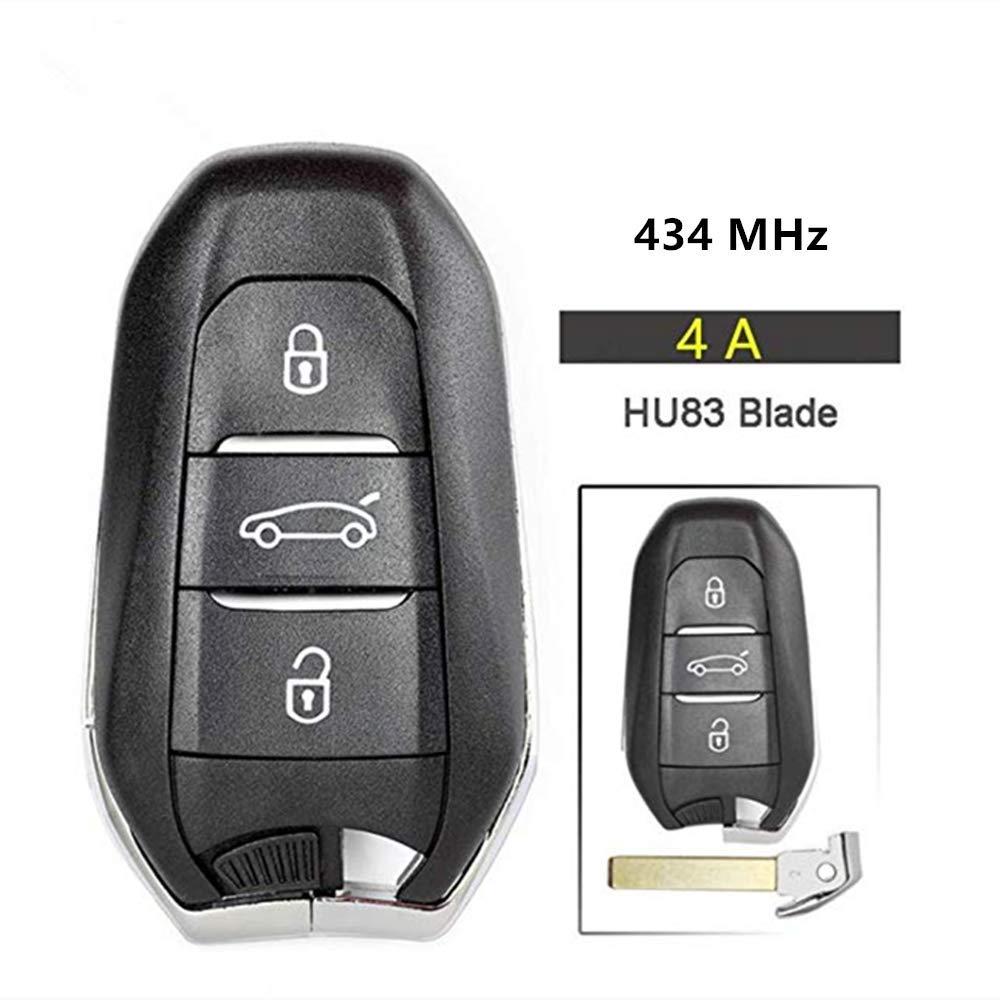 Beefunny 434/MHz Pcf7945/Id46//4/A Puce Smart Remote pour cl/é de Voiture 3/Boutons pour Peugeot 301/308/408/4008/508/5008 ID 46 Chip