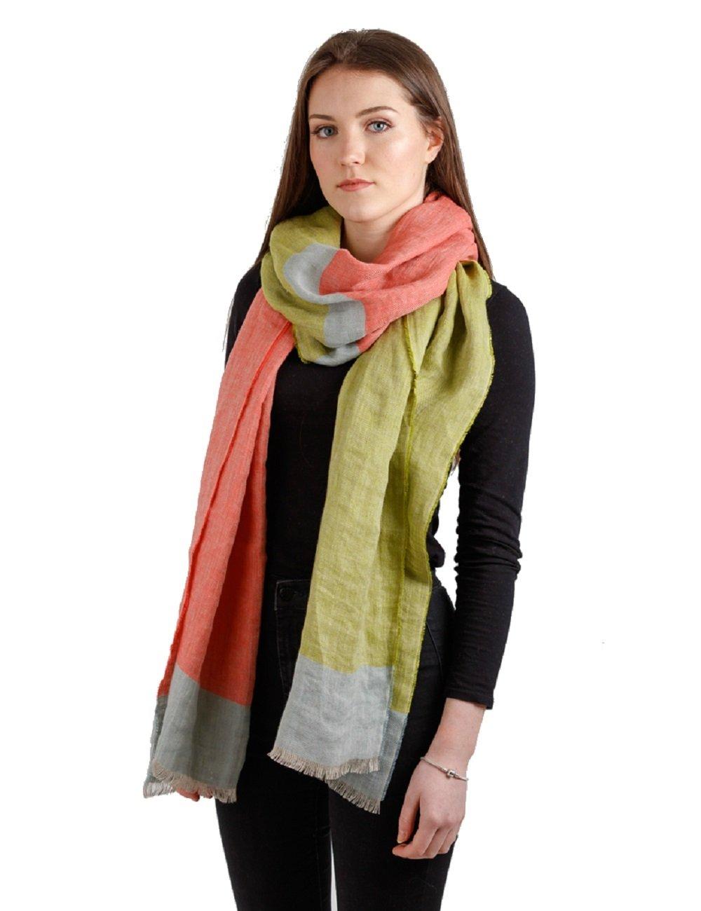 """Women's Linen Scarf 20 ½"""" x 98 ½"""" Summer Garden Color Block Irish Made"""