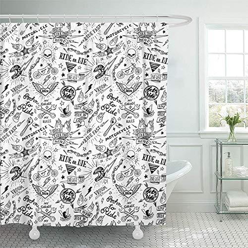 "Emvency 66""x72"" Shower Curtain Waterproof Bathroom Home Decor Old Vintage Traditional Tattoo Biker School Moto Polyester Fabric Adjustable Hooks Set"