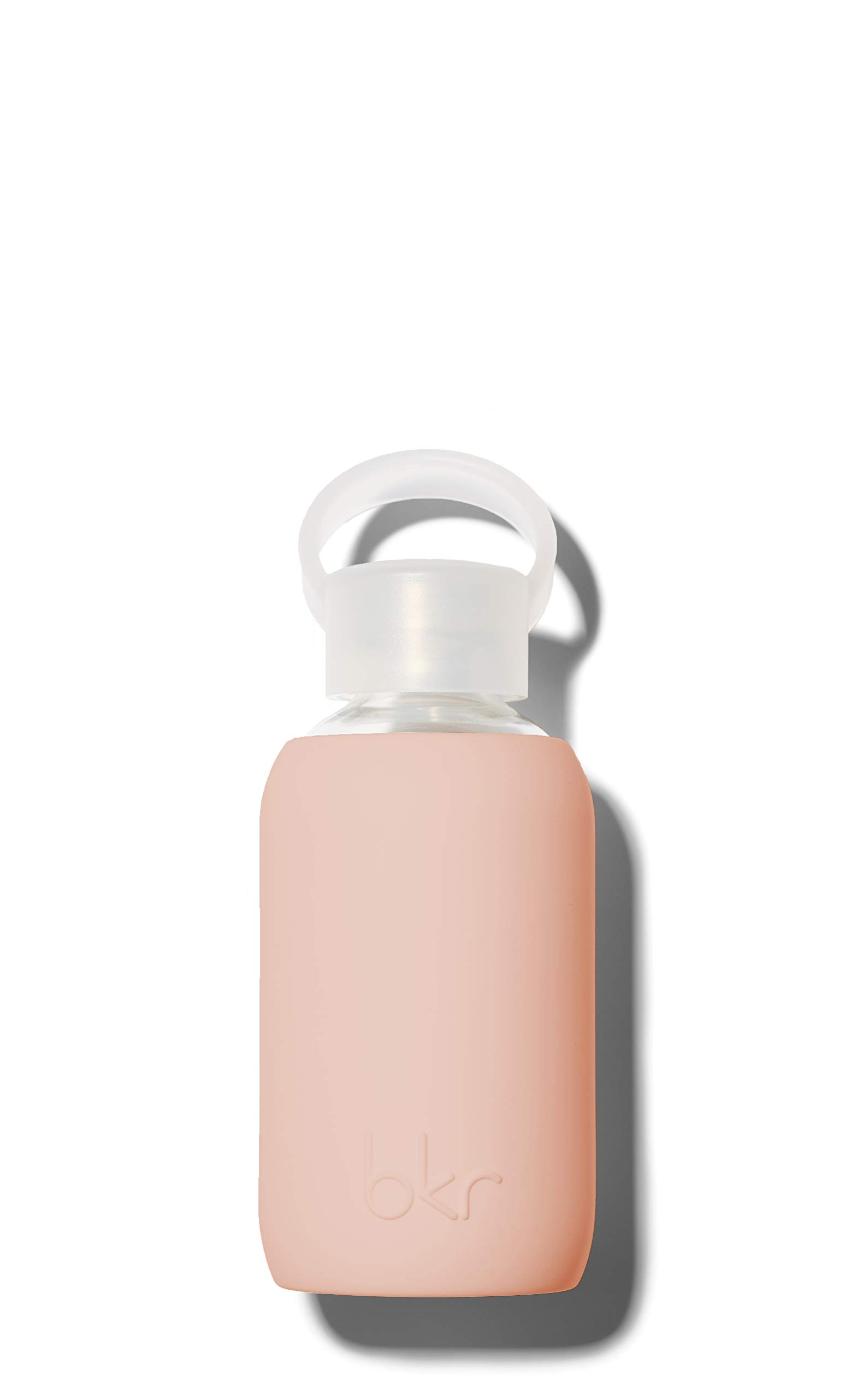 bkr Naked Glass Water Bottle with Smooth Silicone Sleeve for Travel, Narrow Mouth, BPA-Free & Dishwasher Safe, Opaque Light Chocolate Milk Nude, 8 oz / 250 mL