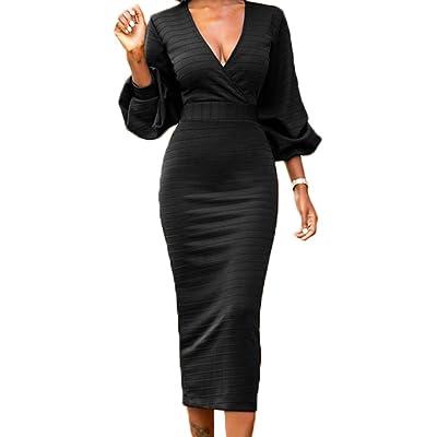 LAVENCHY Womens Vogue 3/4 Lantern Sleeve Bodycon Midi Skirt Dress for Women