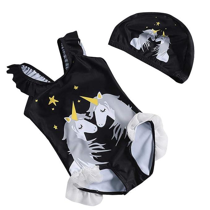 c7ce031fc ARAUS Bañador Una Pieza Niñas Bebé Unicornio Traje de Baño Completo Manga  Corta Sombrero con Encaje Tul  Amazon.es  Ropa y accesorios