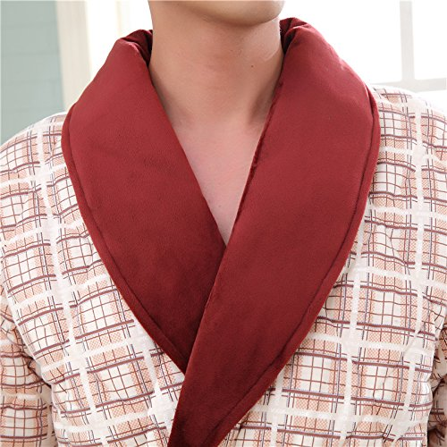 hot sale 2017 Robe three layer cotton knitted cotton thick warm warm comfortable men 's autumn and winter nightgown home clothes robe , r3005 , xxxl