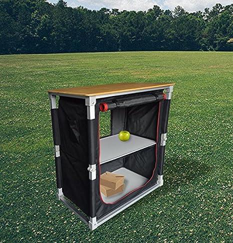 Armario de cocina ligero de aluminio para camping, de Garden & Camping, fácil de montar, con encimera de bambú, con bolsa de almacenamiento