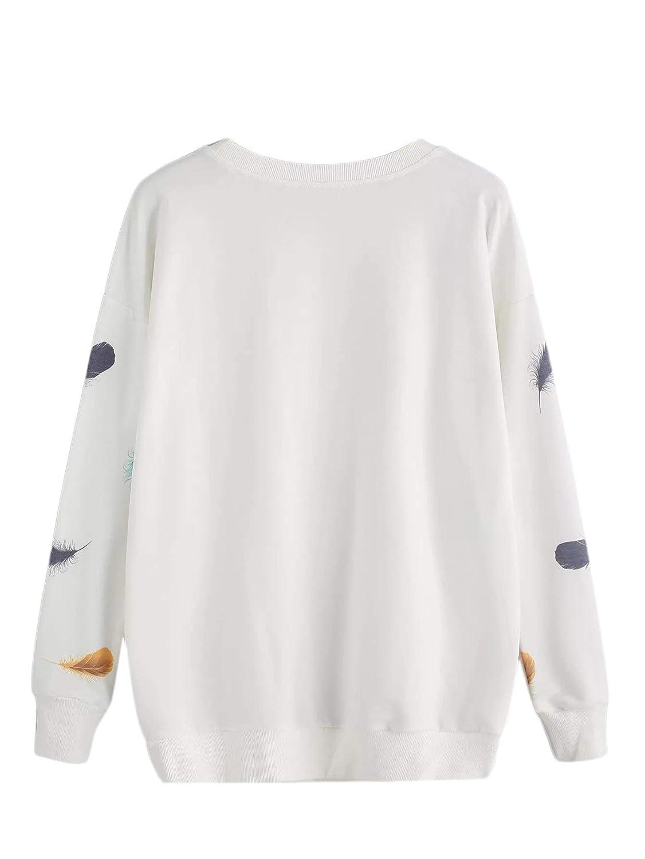 SweatyRocks Womens Plus Size Feather Print Round Neck Long Sleeve Sweatshirt Pullover Sweater Tops Blouse