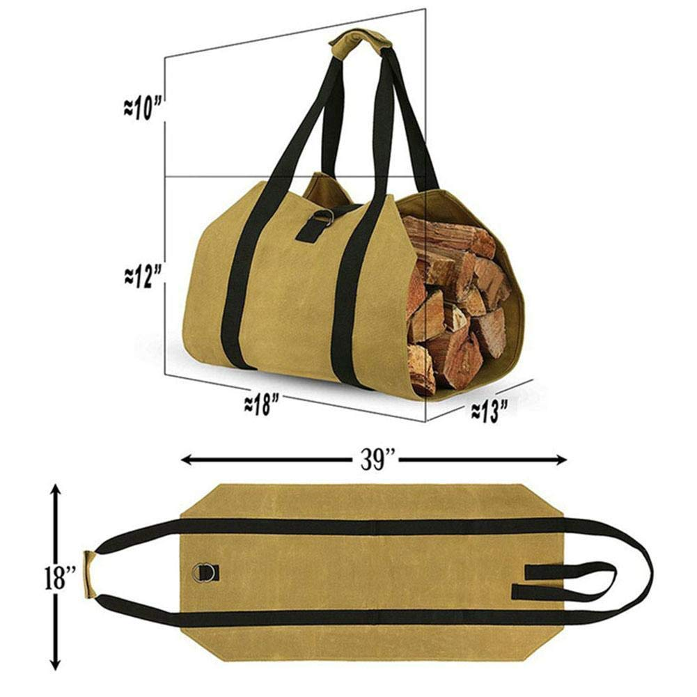 Portable Firewood Storage Bag,Canvas Match Storage Bag Outdoor Match Storage Bag Canvas Firewood Carrier Log Tote Camping Carry Bag Storage Bag Package Handles Bag