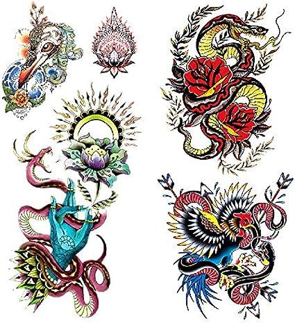 Oottati 2 Hojas 3D Tatuaje Temporal Tattoo Bergamota Serpiente ...