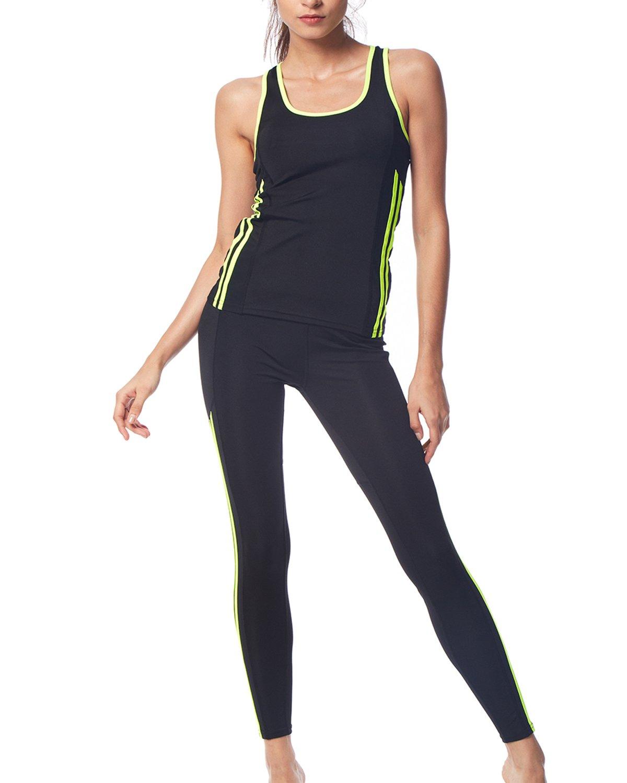 BELLEZIVA Women's Two Pieces Outfit Criss Cross Cutout Back Sport Yoga Legging Workout Suit Set(S-2XL) (XL, Black 6)