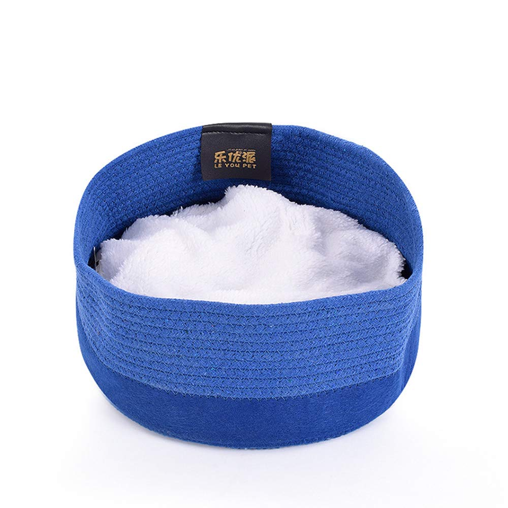 bluee Round Cotton Rope Weaving Cat Nest,Felt Pet Bed,Four Season Cat Bed,Cat Mat Washable Breathable Warm Wear Resistant,bluee