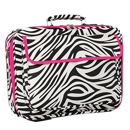 World Traveler 17 Inch Laptop Computer Case, Pink Trim Zebra, One Size