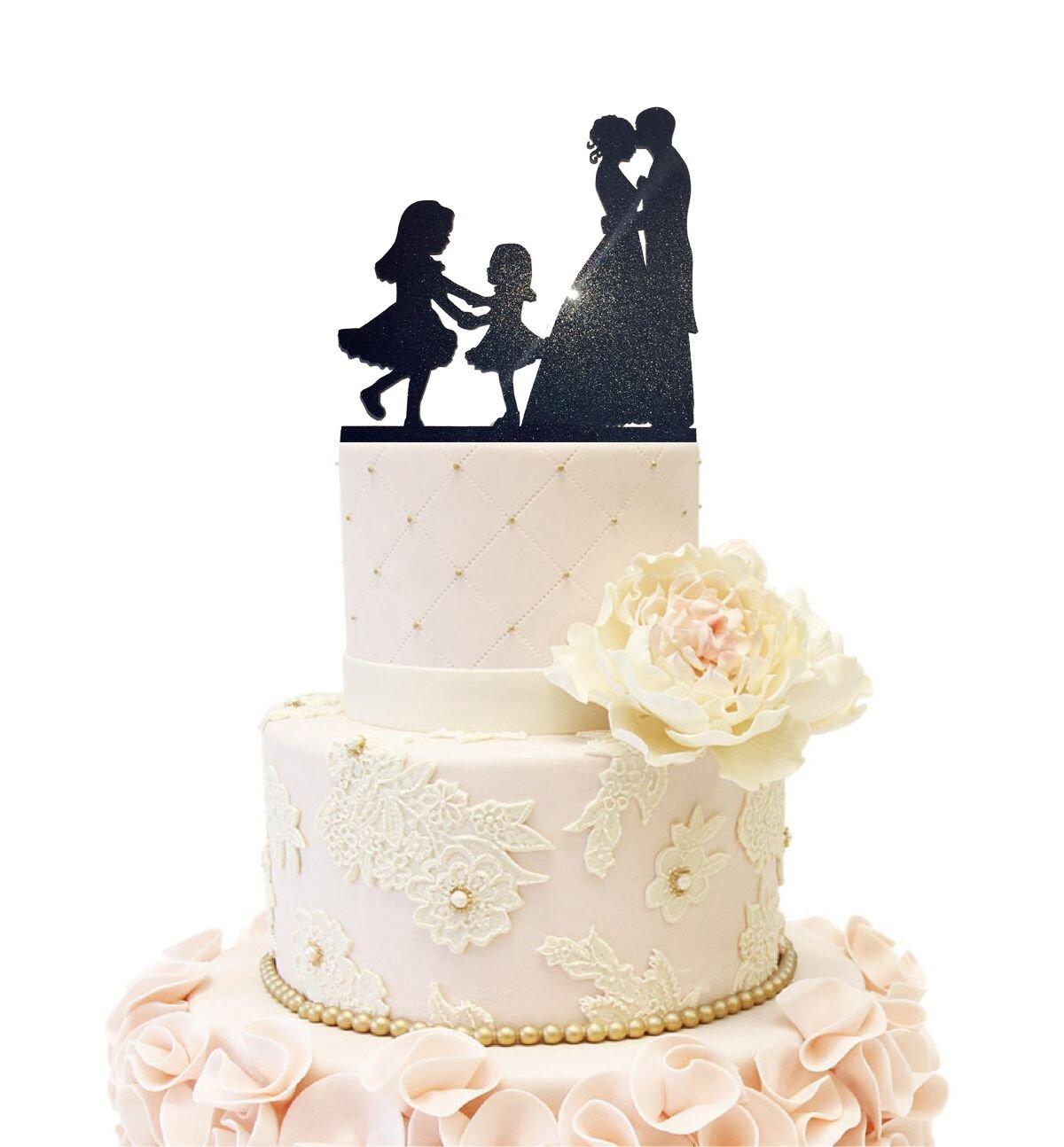 Wedding Anniverary Cake Topper couple Bride Groom with 2 Girls Dancing (2 Girls (Glitter Black))