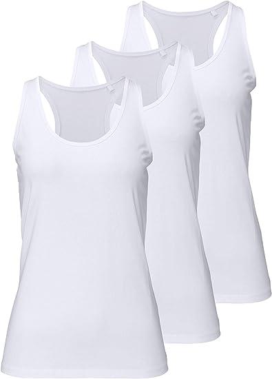 Camiseta de Tirantes de Algodón para Mujer, Pack de 3 Camiseta sin ...