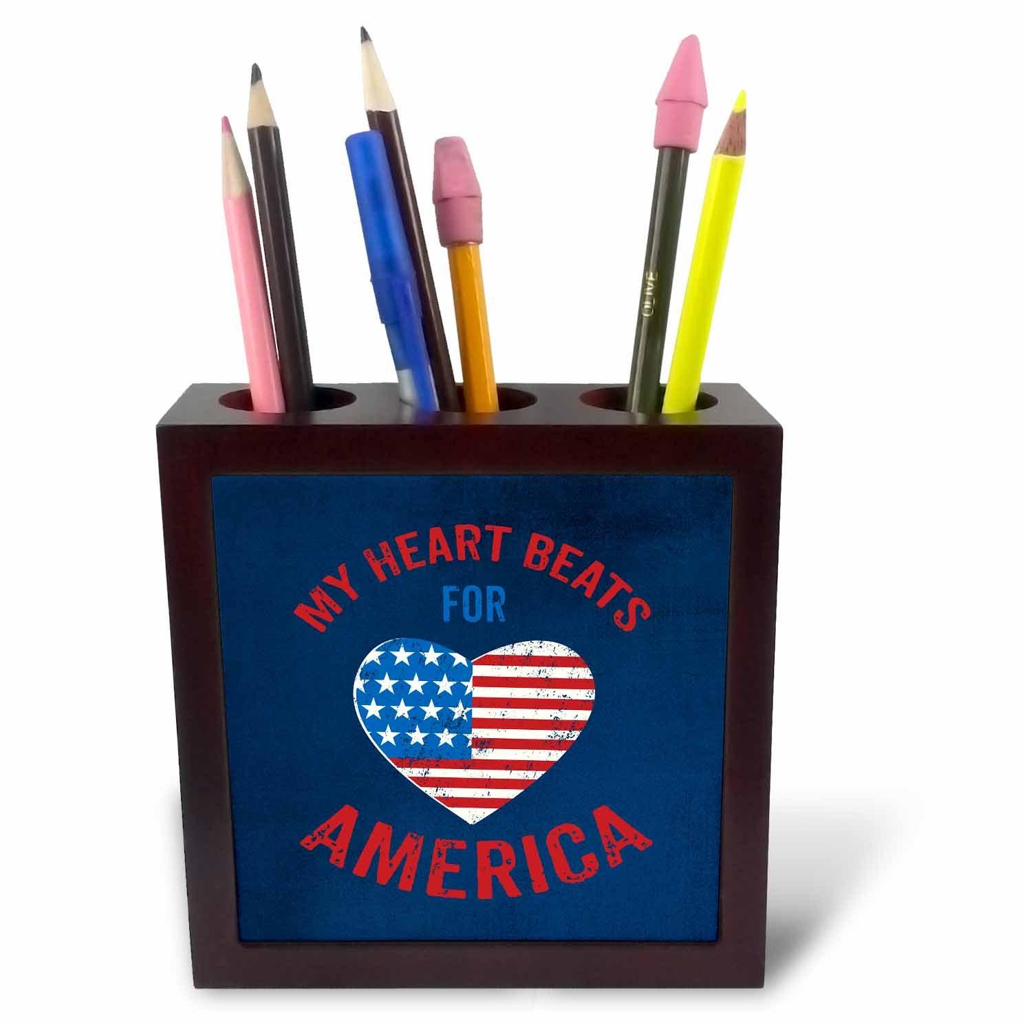 3dRose Andrea Haase Patriotic Art - Heart Beats for America Patriotic 4th July Art On Blue - 5 inch Tile Pen Holder (ph_282599_1)