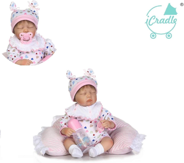 iCradle Muñecas 16Inch 43Cm Realista Reborn Baby Dolls Simulación Silicona Vinilo Bebe Reborn Baby Girl Regalo Juguete Gemelos (Girl)