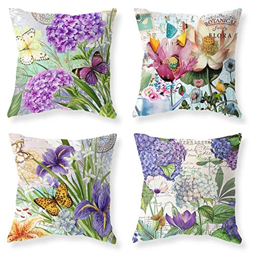 Purple Blue Flowers Butterfly & Dragonfiy Green Leaves Jungle Throw Pillow Farmhouse Outdoor Throw Pillow Cover Happy Summer Time Cotton Linen Pillow Case Home Cover for Sofa 18 x 18 Set of 4 (Floral Sofa Set)