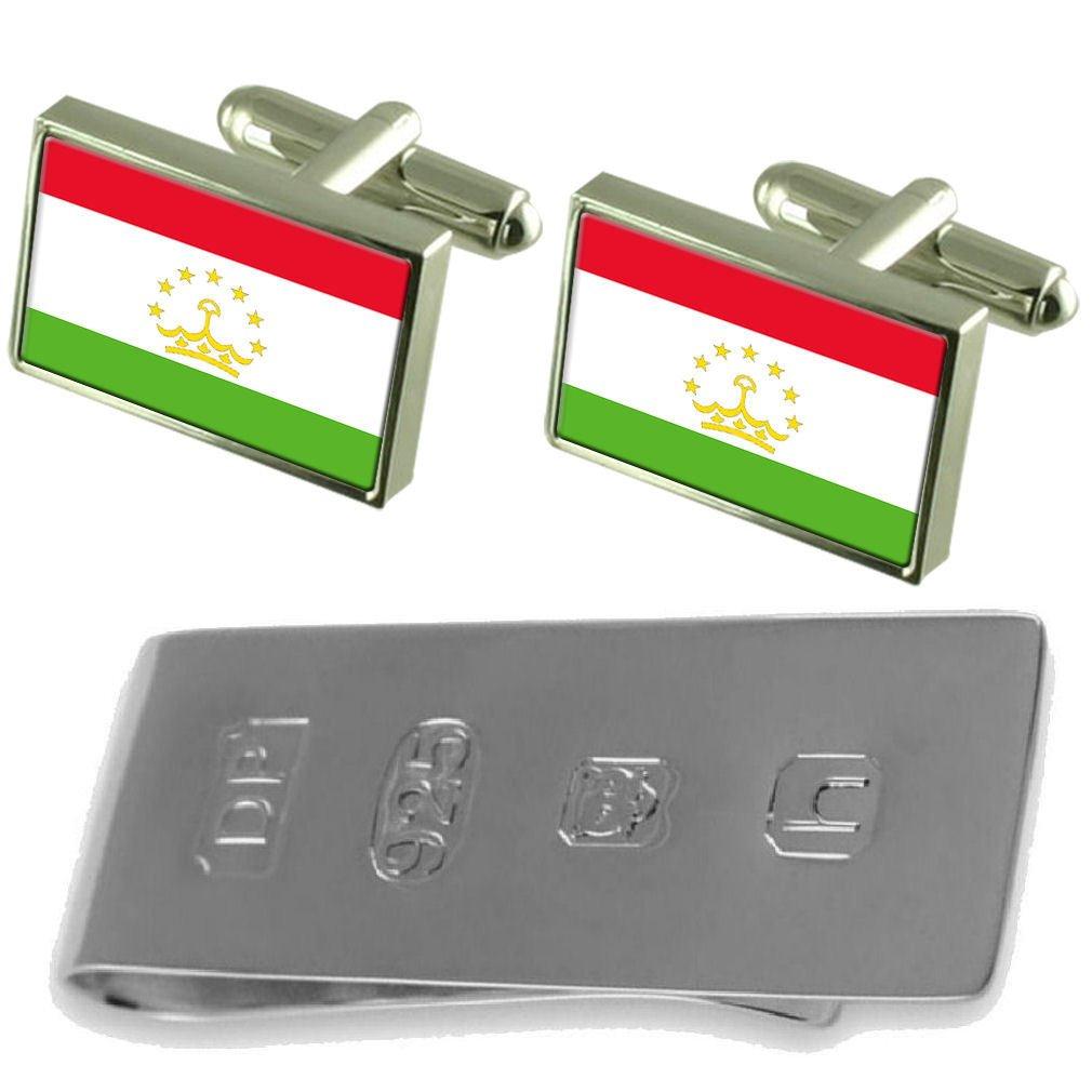 Select Gifts Tajikistan Flag Cufflinks /& James Bond Money Clip
