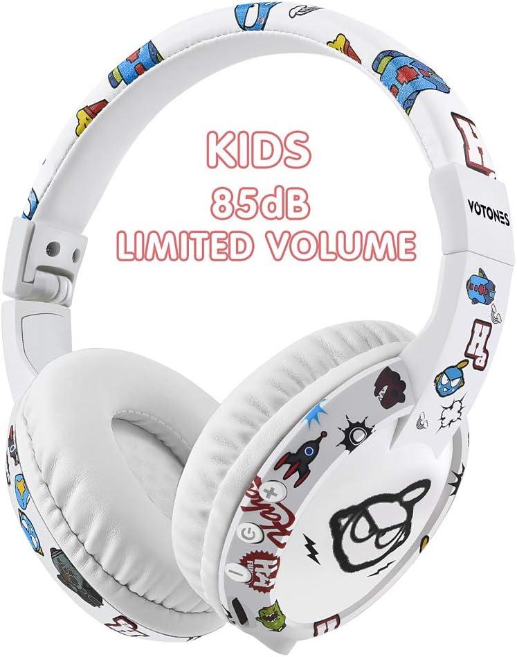 Auriculares inalámbricos para niños, auriculares Bluetooth para niños con volumen de micrófono, auriculares plegables de volumen limitado, compatibles con teléfonos inteligentes / PC / TV / tabletas