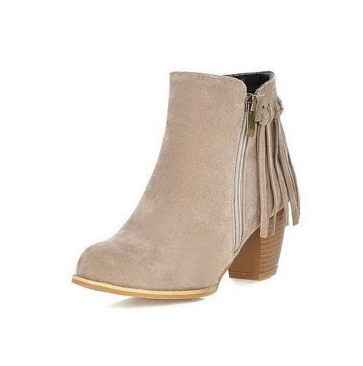 Women's Kitten-Heels Solid Round Closed Toe Frosted Zipper Boots Beige 41