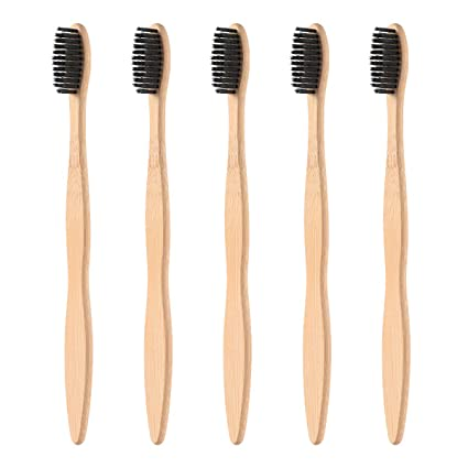 SUPVOX Cepillos de dientes de bambú naturales de madera 5pcs Cepillos de dientes ecológicos con cerdas