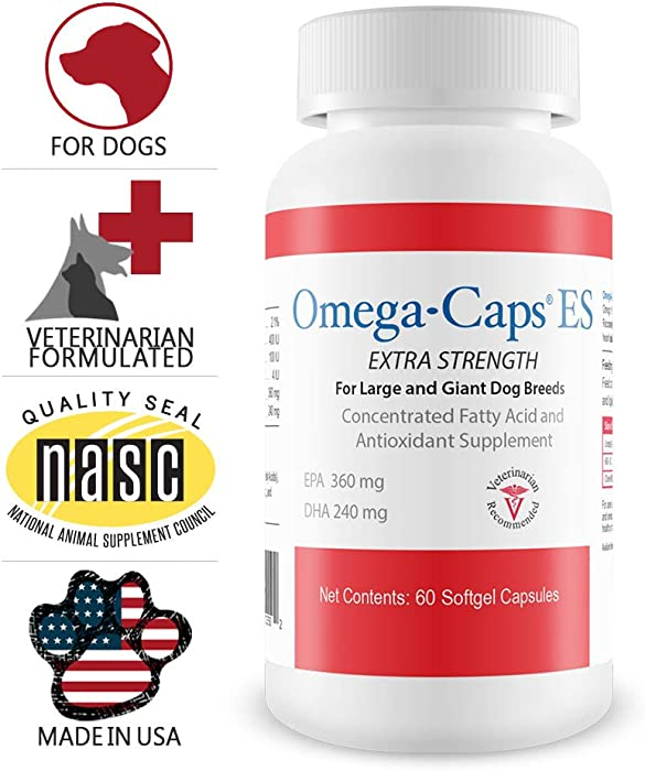 Omega-Caps ES for Large & Giant Dogs - Omega 3, Vitamins, Minerals, Antioxidants - Support Immune System, Joints, Heart, and Brain - 250 Softgel Capsules